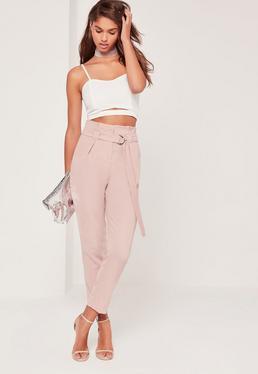 Paperbag Waist Cigarette Pants Pink