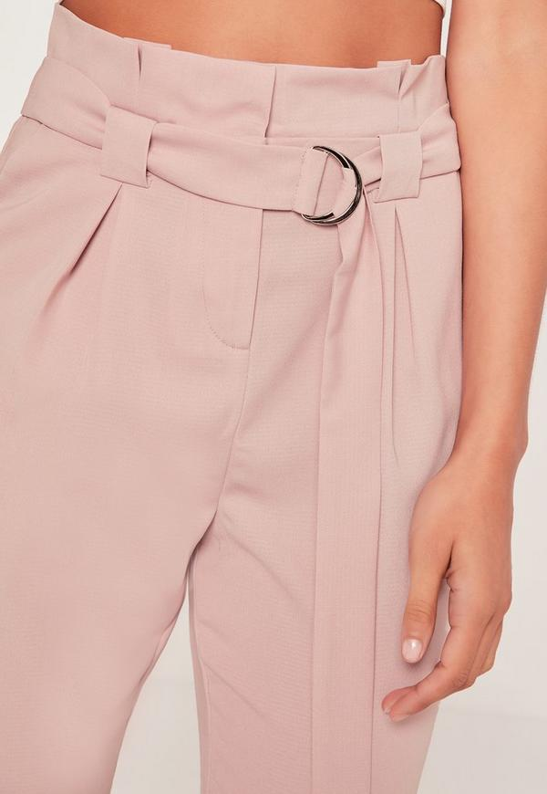 Paperbag Waist Cigarette Pants Pink Missguided