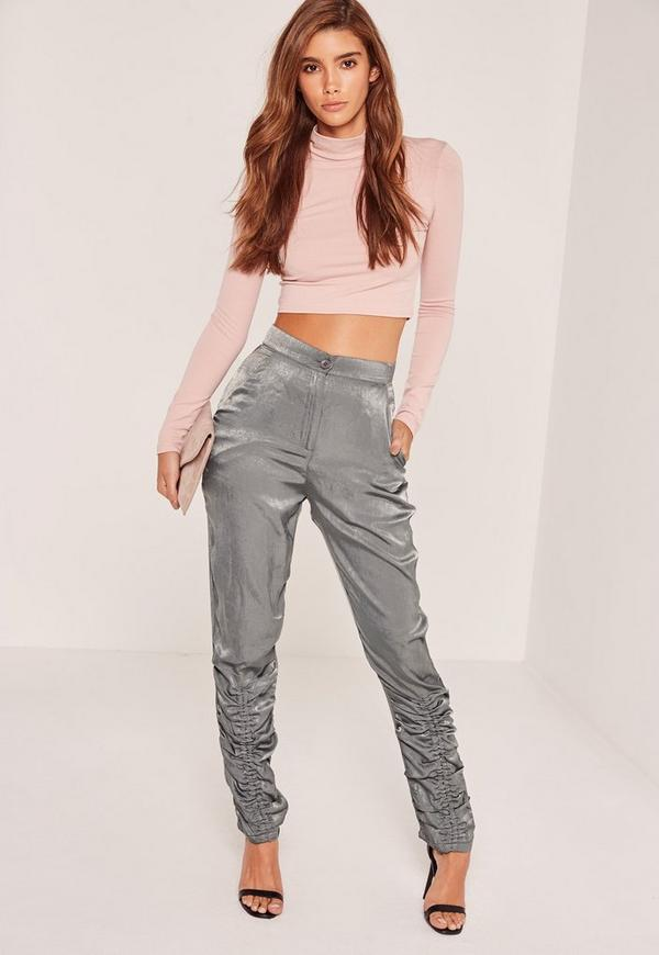 Gathered Detail Satin Cigarette Trousers Silver