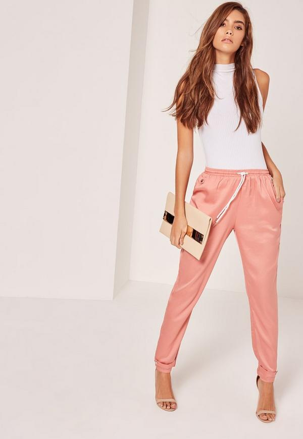 Tab Ankle Detail Cigarette Trousers Pink