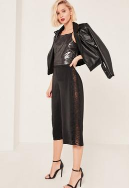 Jupe-culotte noire en satin empiècements dentelle
