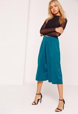 Pantalon jupe bleu plissé effet soyeux