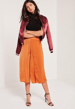 Jupe-culotte marron effet drapé