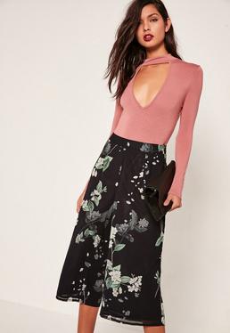 Black Floral Print Chiffon Culotte