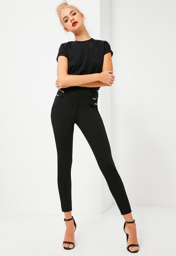 Black Double Zip Ponte Leggings