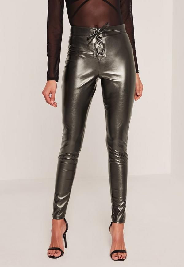 Eyelet Lace Up Faux Leather Leggings Grey   Missguided