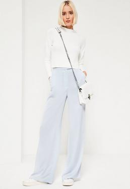 Crepe Wide Leg Trousers Blue