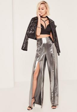 Silver Metallic Split Front Palazzo Trousers