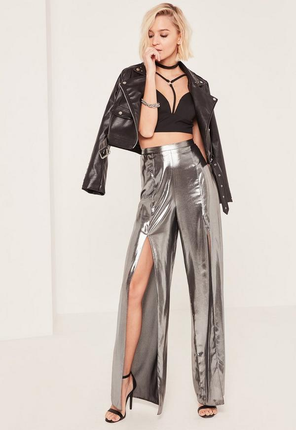 Silver Metallic Split Front Palazzo Trousers