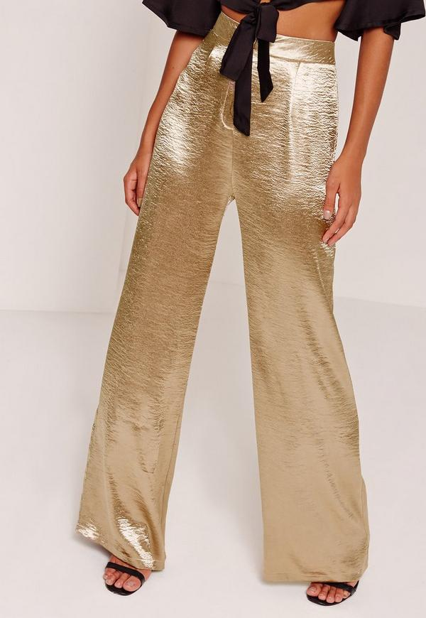 Satin Wide Leg Pants Gold | Missguided