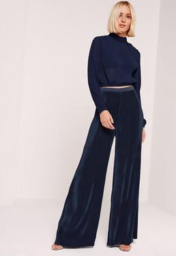 Pantalon large plissé bleu marine