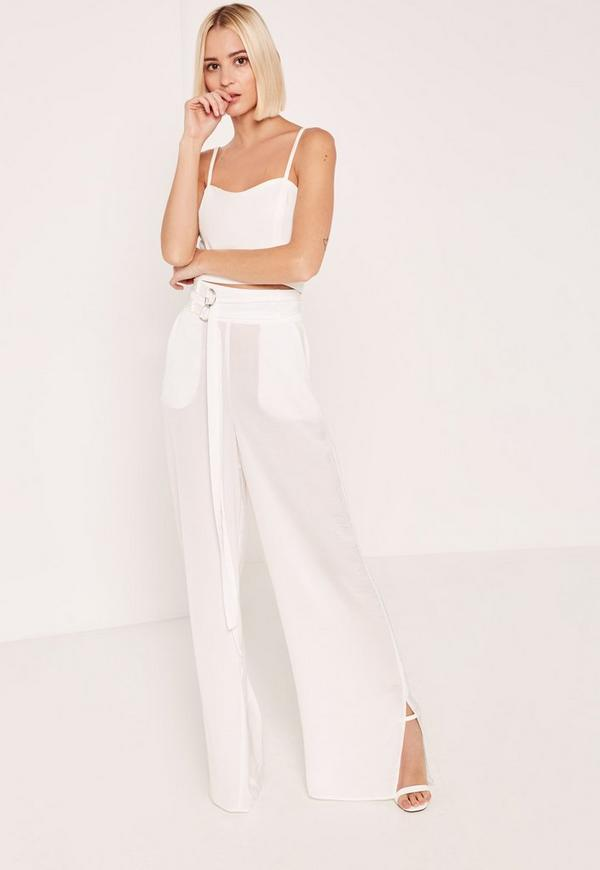 White Hammered Satin Parachute Strap Detail Trousers