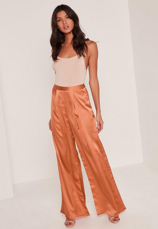 Bronze Pleat Front Wide Leg Trousers