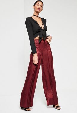 Burgundy Satin Pleat Front Wide Leg Trousers
