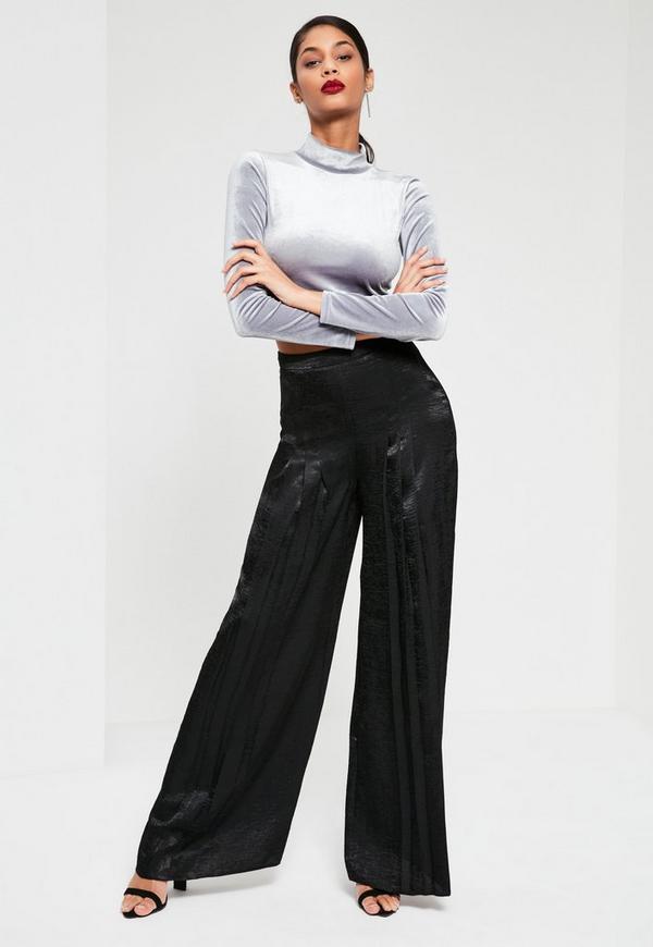Black Satin Pleat Front Wide Leg Trousers