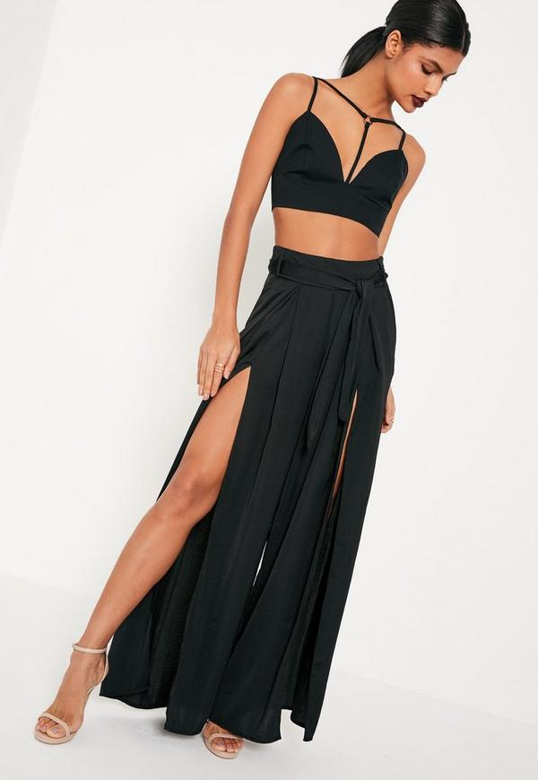 Black Satin Split Front Tie Waist Wide Leg Trousers
