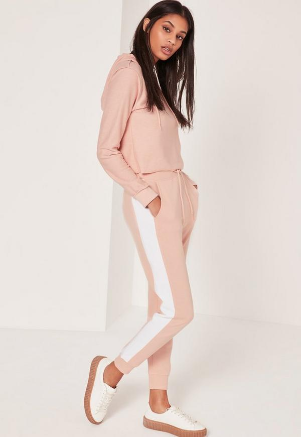 Striped Contrast Elastic Side Joggers Pink