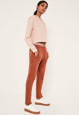 Dark Pink Popper Side Stripe Waist Jogger Co Ord