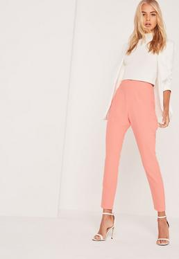 Pantalon cigarette taille haute rose