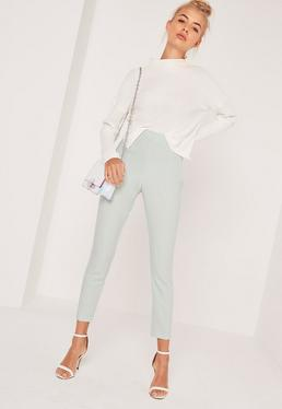 High Waisted Cigarette Trousers Green