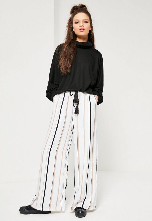 White Wide Leg Striped Trousers