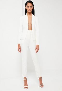 Pantalon de tailleur blanc taille haute Peace + Love