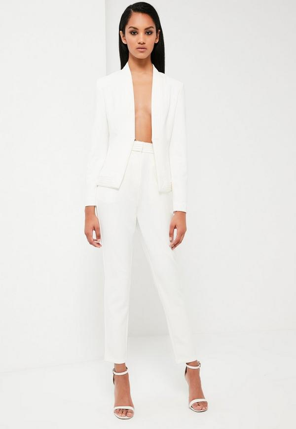 Peace + Love White Tailored Skinny Trousers