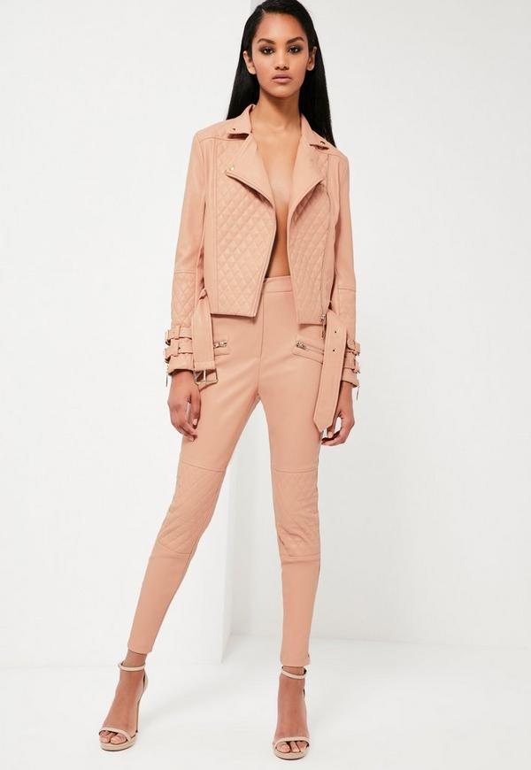 Peace + Love Nude Faux Leather Trousers