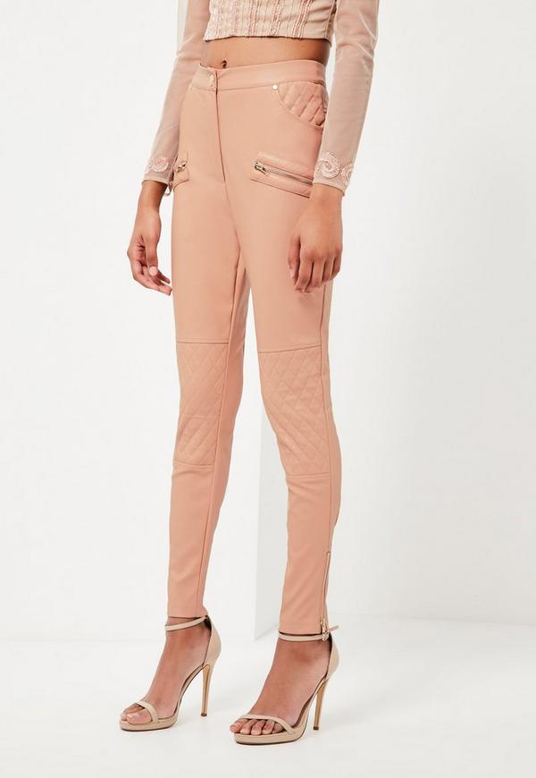 Peace   Love Nude Faux Leather Pants - Missguided