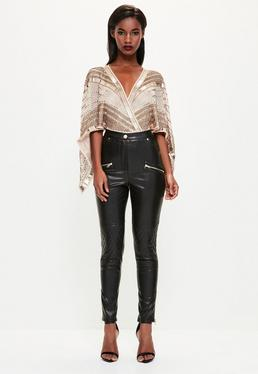 Peace + Love Black Faux Leather Pants