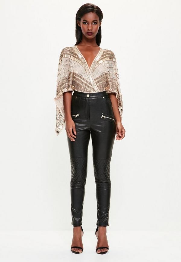 Peace + Love Black Faux Leather Trousers