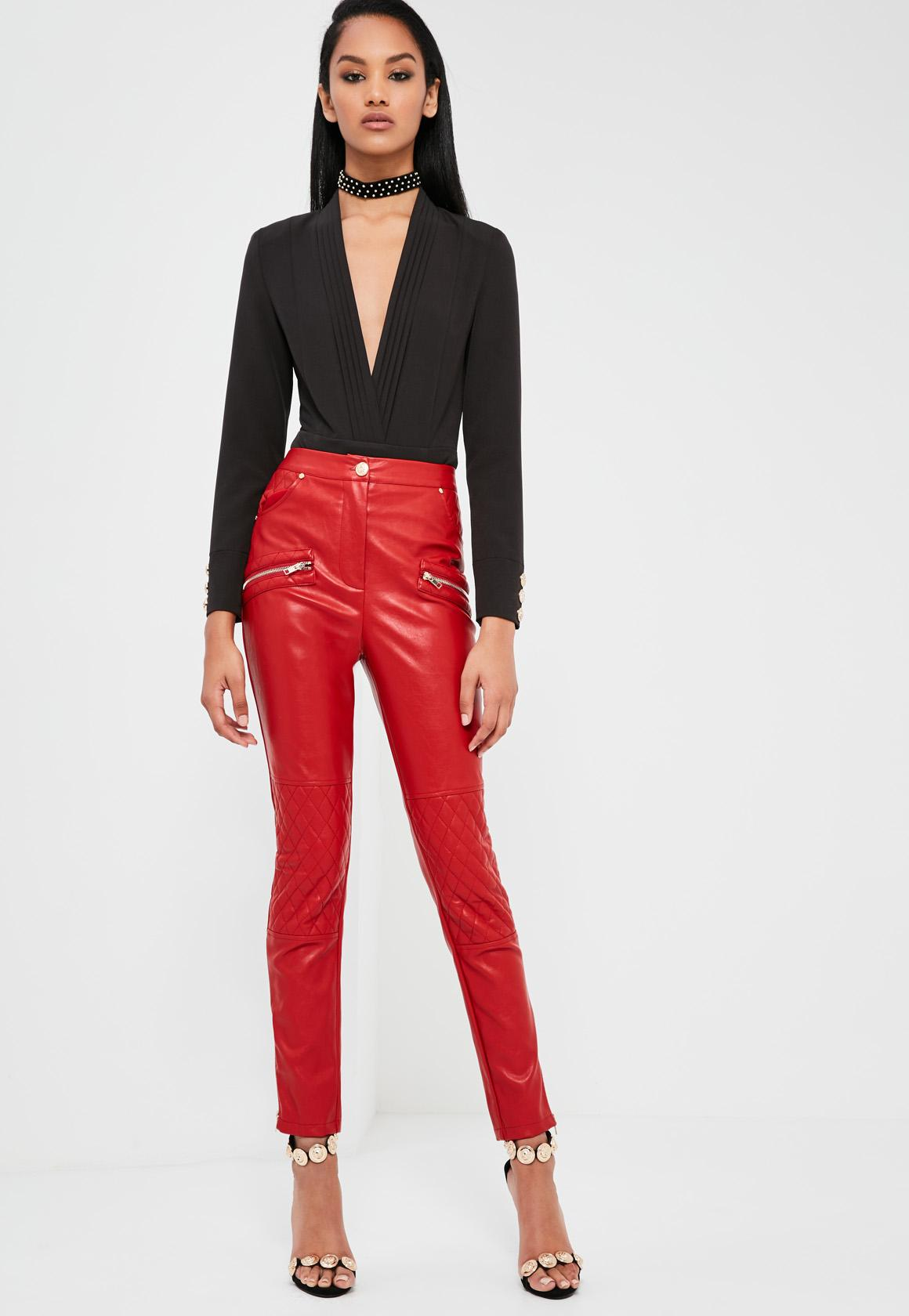 Faux leather trousers red