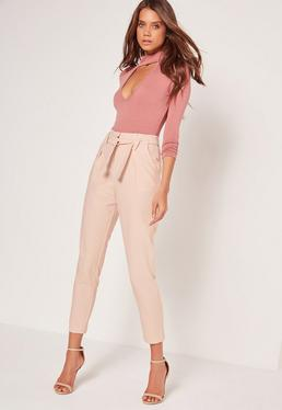 Cream Pleated Waist Tie Belt Cigarette Trousers