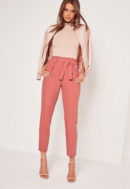 Pantalon cigarette rose plissé ceinture à nouer