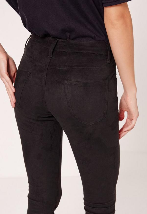 Faux Suede Skinny Pants Black Missguided