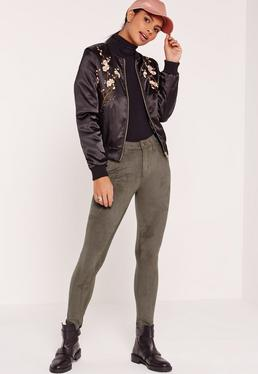 Faux Suede Skinny Trousers Khaki