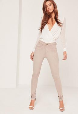 Faux Suede Skinny Trousers Nude