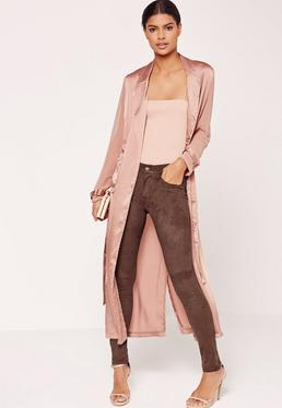Faux Suede Skinny Trousers Brown