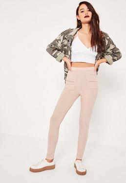 Pink Stretch Ribbed Pocket Detail Leggings Pink