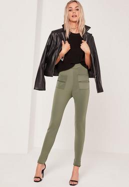 Legging skinny vert kaki détail poches