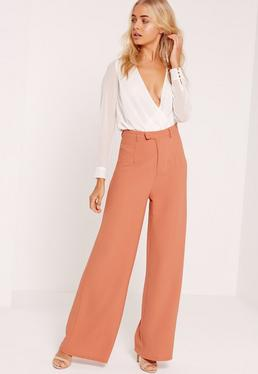 Pantalon large en crêpe nude premium
