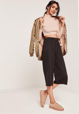 Black Raw Hem Loopback Casual Culottes
