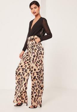 Pantalon large nude imprimé léopard