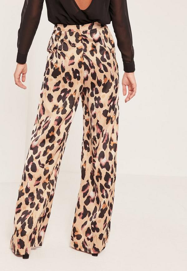 leopard print wide leg pants missguided