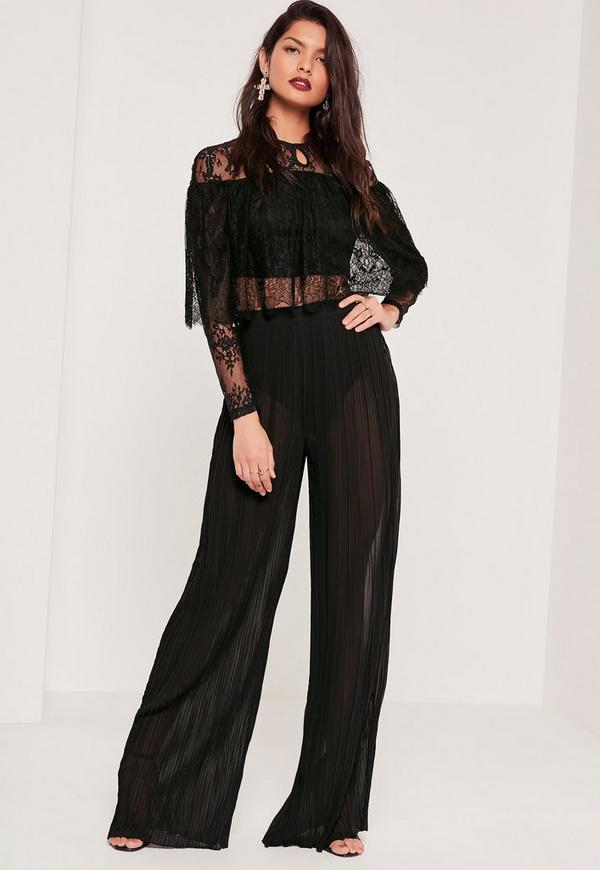 Sheer Chiffon Pleated Wide Leg Pants Black | Missguided