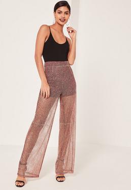 Pantalon bordeaux en résille scintillant