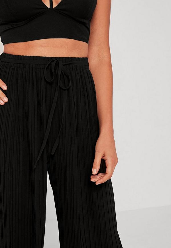 Black Pleated Culottes With Skinny Tie Belt Missguided