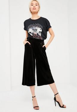 Black Velvet Straight Leg Culottes