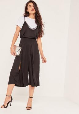 Black Split Front Hammered Satin Culottes