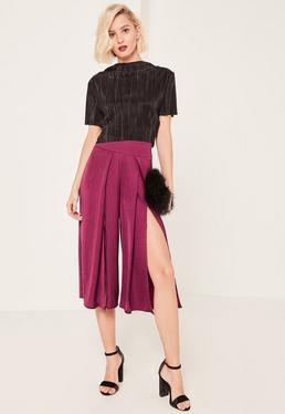 Purple Split Front Hammered Satin Culottes